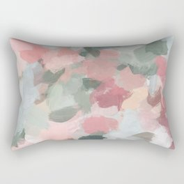 Blue Sage Green Coral Pink Tropical Flowers in the Wind Abstract Nature Ocean Painting Art Print Wall Decor  Rectangular Pillow