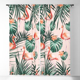 Tropical Flamingo Floral Summer Pattern #1 #tropical #decor #art #society6 Blackout Curtain
