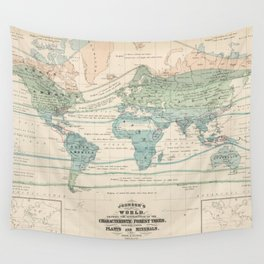Vintage World Forest Map (1870) Wall Tapestry