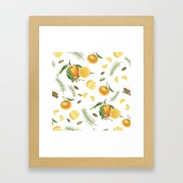 Tangerines, spices and branches of tree Framed Art Print