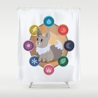 sylveon Shower Curtains featuring Evolution Possibilities  by creativeesc