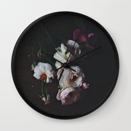 English Roses Still Life - Dark Number Two Wall Clock