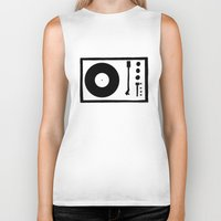 record Biker Tanks featuring 'Record Player' by Ben Rowe