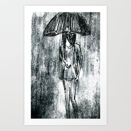 Umbrella Sketch Art Print