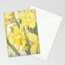 Vintage Floral Paper:  Spring Flowers on Shabby White -Daffodils Stationery Cards