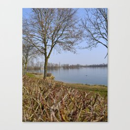 Looking at a lake in Laupheim Canvas Print