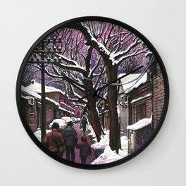 Snowy street at nightfall Wall Clock