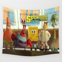 spongebob Wall Tapestries featuring spongebob squarepants,cartoon,patrick,Squidward,sandy,Mr. Krabs,movie, by rosita