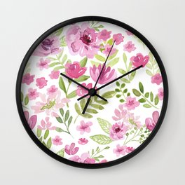 Watercolor/Ink Sweet Pink Floral Painting Wall Clock