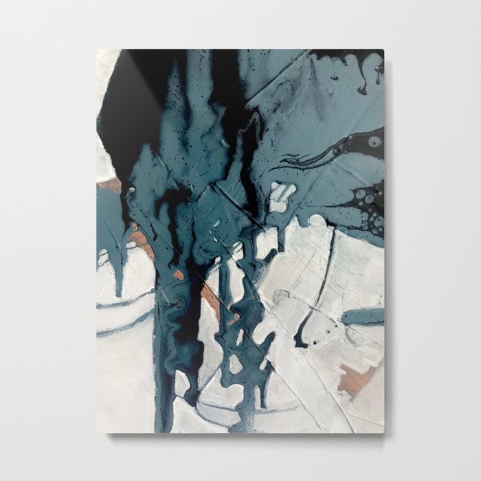 Fortune[4]: A bold, minimal, abstract mixed-media piece in blue and black Metal Print