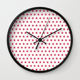 Red stars on white pattern Wall Clock