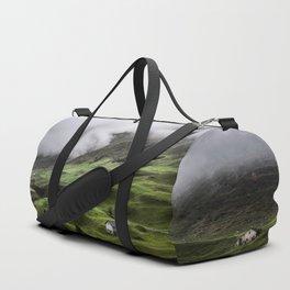Luscious green mountain views in Switzerland Duffle Bag