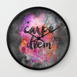 Carpe diem colorful watercolor handlettering Wall Clock