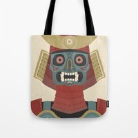 samurai Tote Bags featuring Samurai by James White