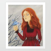 'Young Woman with a Red Dress' Art Print