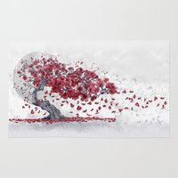 cherry blossom Area & Throw Rugs featuring Cherry blossom by Marine Loup