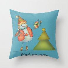 Friends keep warm Throw Pillow