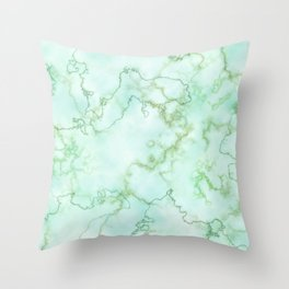 Marble Smaragd Gold Throw Pillow