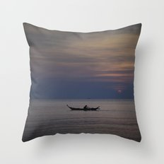 Rowing into the sunset II Throw Pillow