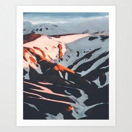 Golden Hour PNW Glacier Mountain Hike Art Print