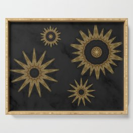 Gold Flower Mandalas over Black Marble Serving Tray