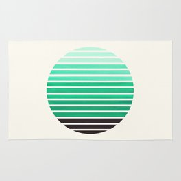 Teal Green Mid Century Modern Minimalist Scandinavian Colorful Stripes Geometric Pattern Round Circl Rug