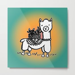 Hand  drawn llamas Metal Print