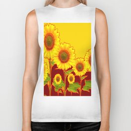 YELLOW-BURGUNDY COLOR SUNFLOWER ART Biker Tank