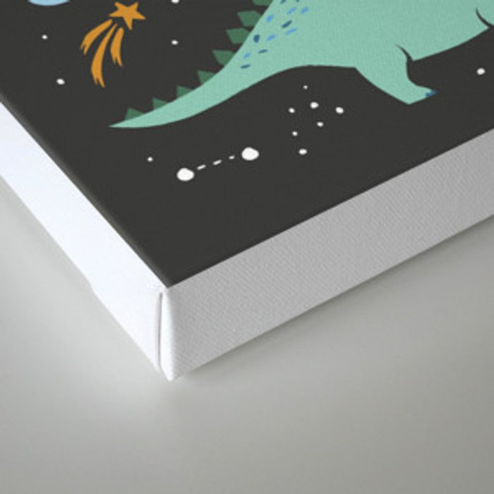 Dinosaurs in Space in Blue Canvas Print