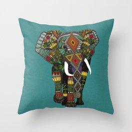 floral elephant teal Throw Pillow