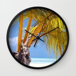 Maldives. Palm tree on the beach. Wall Clock