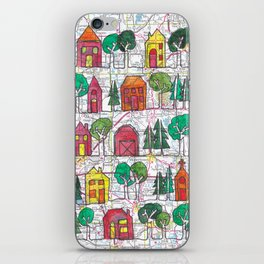 Central WI Neighborhood and Farm Continuous Line Drawing on vintage map iPhone Skin