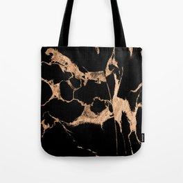 Black marble golden splash Tote Bag