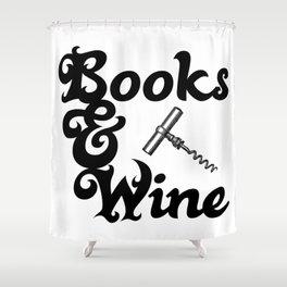 Books & Wine Shower Curtain