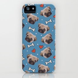 Pug love pattern iPhone Case