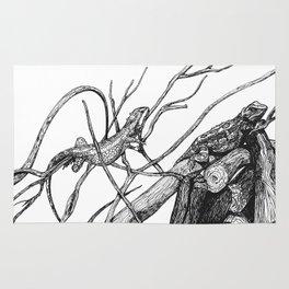 Iguana: Black White Rug