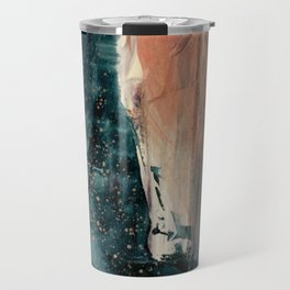 Same Stars [2] - an abstract mixed media piece in blues, pinks, and black Travel Mug