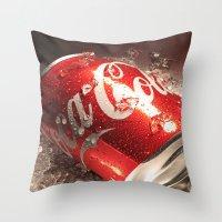 coca cola Throw Pillows featuring Coca Cola by MarianaManina
