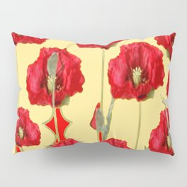 RED POPPIES ON CREAM ART NOUVEAU DESIGN Pillow Sham