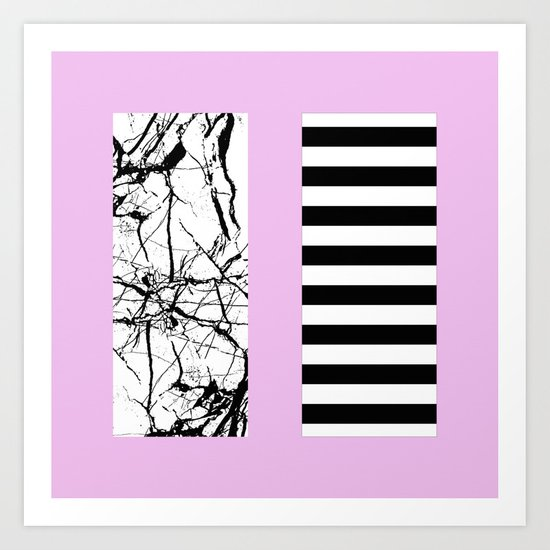 Stripes N Marble 2 - Black and white stripes and marble patterns on a pastel pink background Art Print