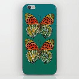 Himalayan Fritillary Butterfly - Emerald Green & Orange Red iPhone Skin