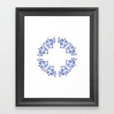 Round floral blue Framed Art Print