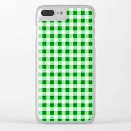 Gingham Green and White Pattern Clear iPhone Case