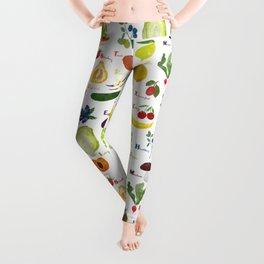 English fruit and vegetables alphabet Leggings