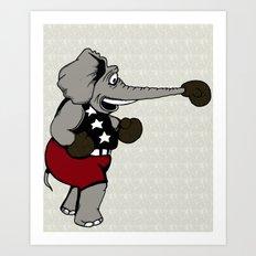 Boxing Elephant Art Print