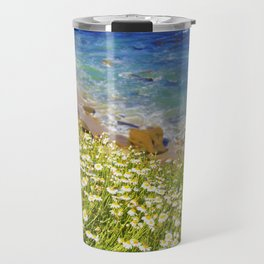 California Seaside in Bloom by Reay of Light Travel Mug