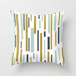 Interrupted Lines Mid-Century Modern Minimalist Pattern in Blue, Mint, and Golden Mustard Throw Pillow