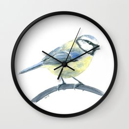 Blue tit, watercolor painting Wall Clock
