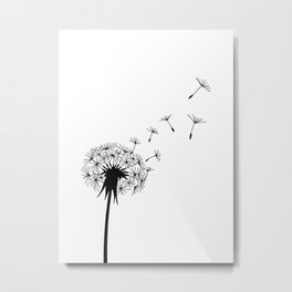 Black and White Dandelion Blowing in the Wind Metal Print