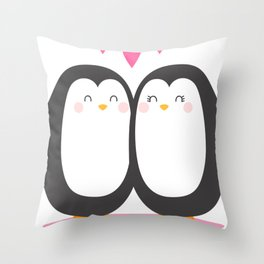 Cartoon Penguin Lover Throw Pillow